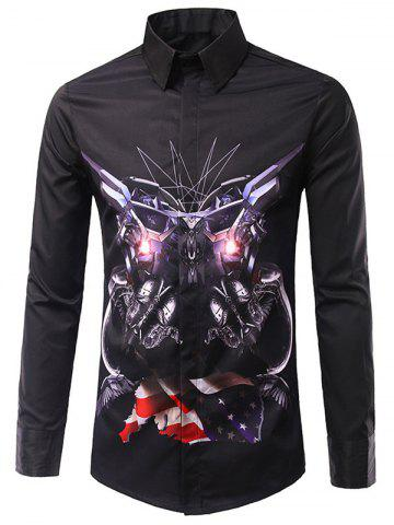 Store Casual Long Sleeves Flag Printed Turn Down Collar Shirts For Men