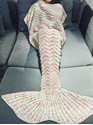 Comfortable Multicolor Knitted Throw Mermaid Tail Design Blanket For Adult - OFF-WHITE