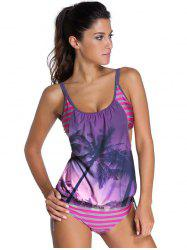 Stylish Spaghetti Strap Palm Tree Print Women's Tankini Set
