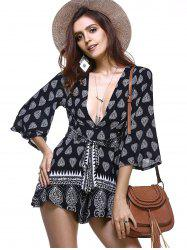 Bohemian Low Cut Bell Sleeve Tribal Print Cut Out Romper For Women
