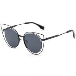 Stylish Flat Lenses Cut Out Street Fashion Black Cat Eye Sunglasses For Women -