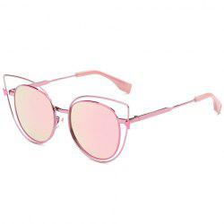 Stylish Cut Out Street Fashion Sweet Pink Cat Eye Mirrored Sunglasses For Women