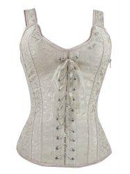 V-Neck Lace Up Corset - APRICOT