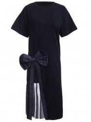 Refreshing Women's Bowknot Decorated Voile Furcal Tee Dress -