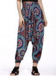 Printed Smocked Waistband Harem Pants - BLACK AND WHITE AND RED