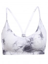 Stylish Strappy Tie Dyed Soprt Bra For Women - GRAY