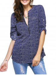 Casual 3/4 Sleeve Zipper Fly Embellished Women's Print Blouse - DEEP BLUE