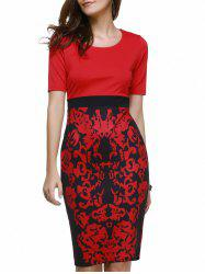 Fashionable Scoop Neck Floral Print Bodycon Dress For Women -