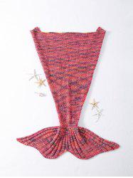 Stylish Rhombus Pattern Crocheted Knitted Mermaid Tail Shape Blankets