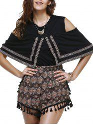Ethnic Style Geometry Embroideried Tee + Totem Print Shorts Twinset For Women -