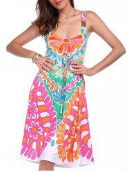 Ethnic Style Plunging Neck Sleeveless Printed Colorful Dress For Women