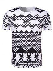 Round Neck Irregular Geometric Print Short Sleeve T-Shirt For Men