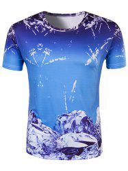Slim Fit Round Collar Ice Cube Printing T-Shirt For Men