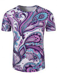 Round Neck Ethnic Style Paisley Print Short Sleeve T-Shirt For Men - COLORMIX