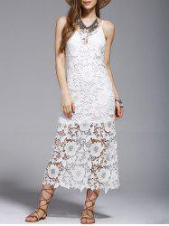 Crochet See-Through Lace Cover Up Dress -