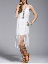 Fashionable Tassel Spaghetti Straps Hollow Out Dress For Women - WHITE S