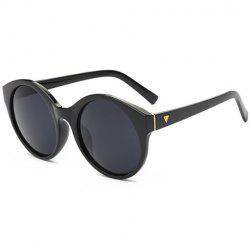Stylish Round Flat Lens Solid Color Frame Up-To-Date Sunglasses For Women -