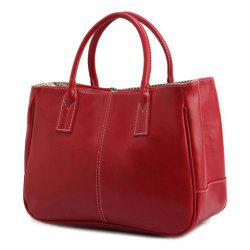 Concise Candy Color and PU Leather Design Tote Bag For Women - RED