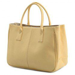 Concise Candy Color and PU Leather Design Tote Bag For Women - BEIGE