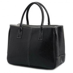 Concise Candy Color and PU Leather Design Tote Bag For Women - BLACK