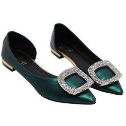 Elegant Solid Colour and Rhinestones Design Flat Shoes For Women -