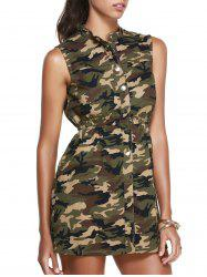 Stand Collar Sleeveless Camo Shirt Dress