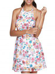 Mini Floral Halter Backless Summer Dress