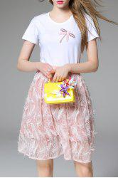 Beaded Short Sleeve T-Shirt and Feather Skirt Twinset -