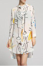 High-Low Printed Shirt Dress -