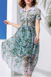 Double Pocket Leaves Print Dress -
