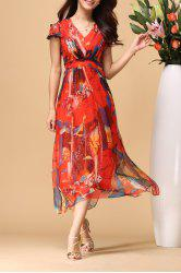 V Neck Printed Elastic Waist Beach Dress -