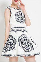 Embroidered Sleeveless Flared Dress -