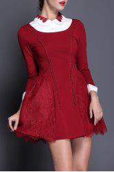 Doll Collar Lace Splicing Dress -