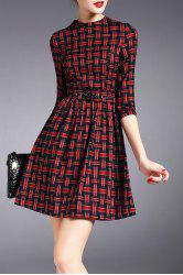 Checked Mini Dress with Belt -