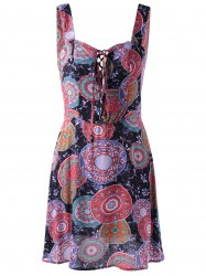 Fashionable Straps Lace-Up Cut-Out Printing Dress For Women -