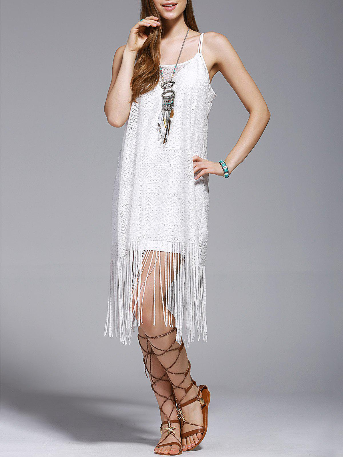 Shop Fashionable Tassel Spaghetti Straps Hollow Out Dress For Women
