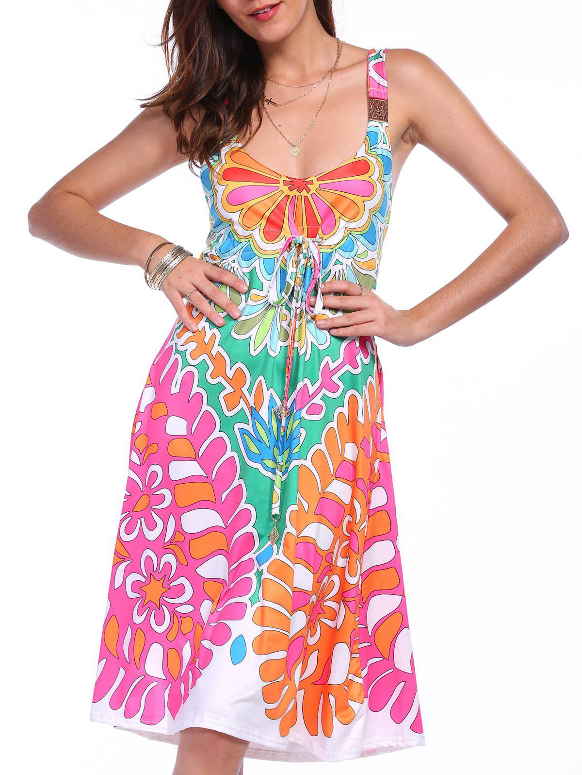 Hot Ethnic Style Plunging Neck Sleeveless Printed Colorful Dress For Women