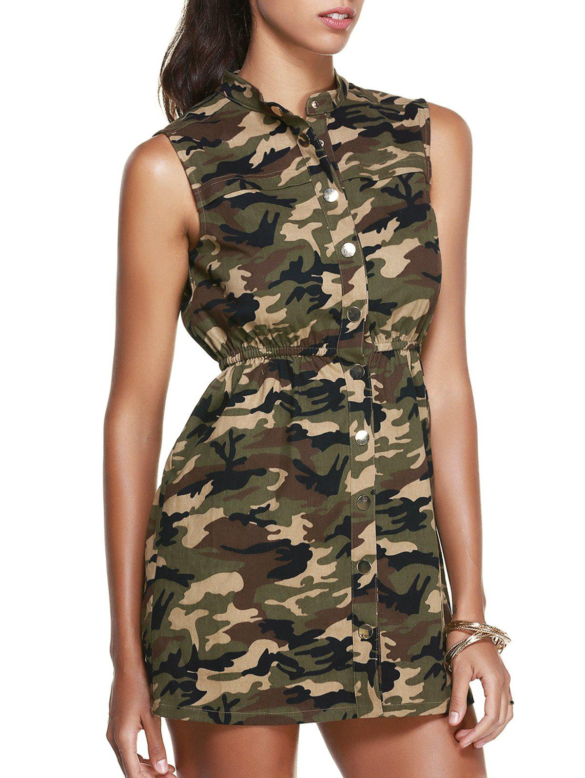 New Stand Collar Sleeveless Camo Shirt Dress