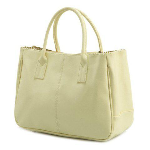 Shops Concise Candy Color and PU Leather Design Tote Bag For Women