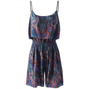 Spaghetti Strap Flounce Floral Paisley Romper - Colorful Geometric - S