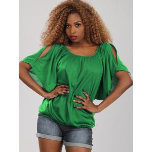 Sweet Half Sleeve Scoop Neck Hollow Out Women's Blouse - Green - Xl