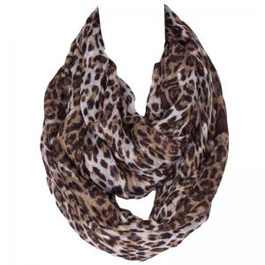 Stylish Wild Leopard Print Voile Scarf For Women - Coffee