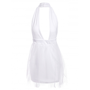 Sexy Halter Plunging Neckline Sleeveless Muilt-Layered Ball Gown Dress For Women - White - L
