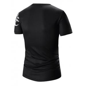 Round Neck Printed Short Sleeve T-Shirt For Men - BLACK L