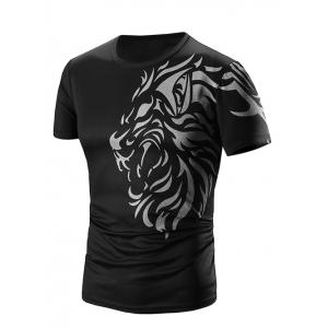 Round Neck Printed Short Sleeve T-Shirt For Men - Black - M