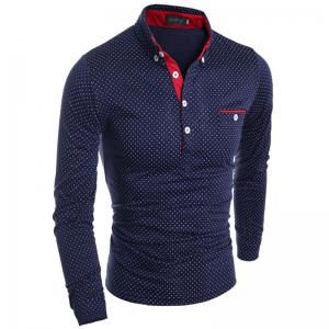Polka Dot Print Long Sleeves Polo Shirt -