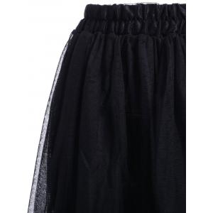 Elastic Waist Puff Five Layers Tulle Skirt - BLACK FREE SIZE