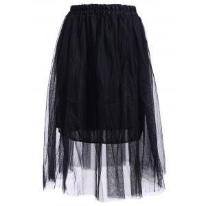 Elastic Waist Puff Five Layers Tulle Skirt