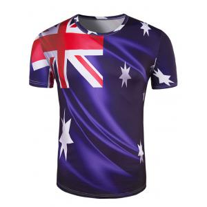 Slim Fit Round Collar Australian Flag Printing T-Shirt For Men