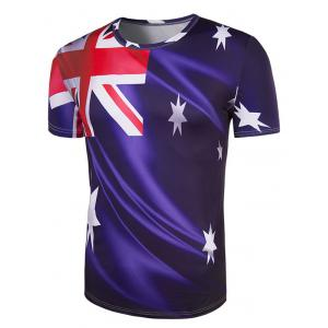 Slim Fit Round Collar Australian Flag Printing T-Shirt For Men - DEEP PURPLE XL